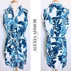 ALEXIA ADMOR floral print belted mini shirt dress